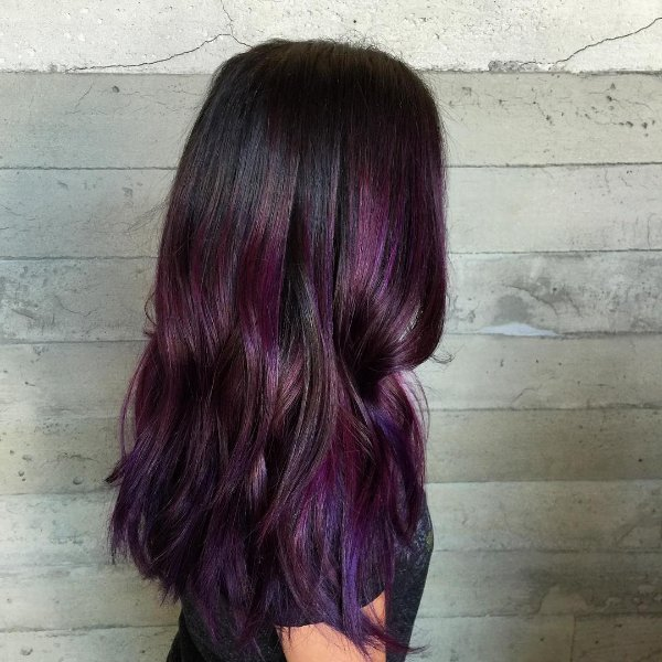 purple balayage on black hair