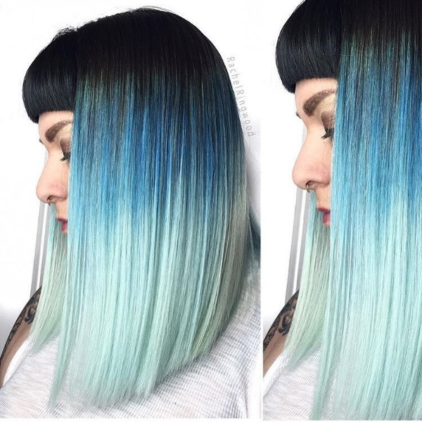 scene hair blue and black