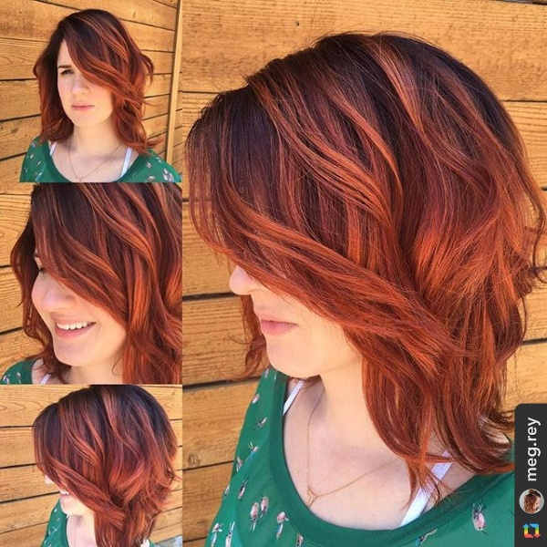 25 Red And Black Ombre Highlights Hair Color Ideas
