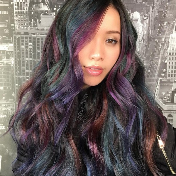 black hair with blue and purple highlights