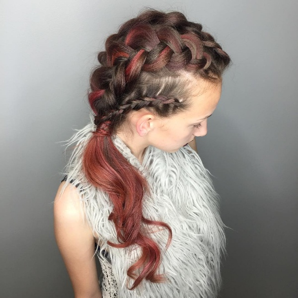 ombre hair red and black