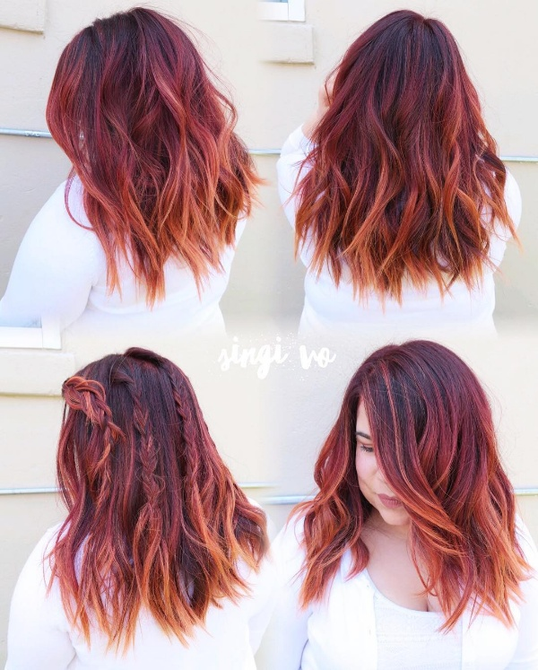 25 Red And Black Ombre Highlights Hair Color Ideas April