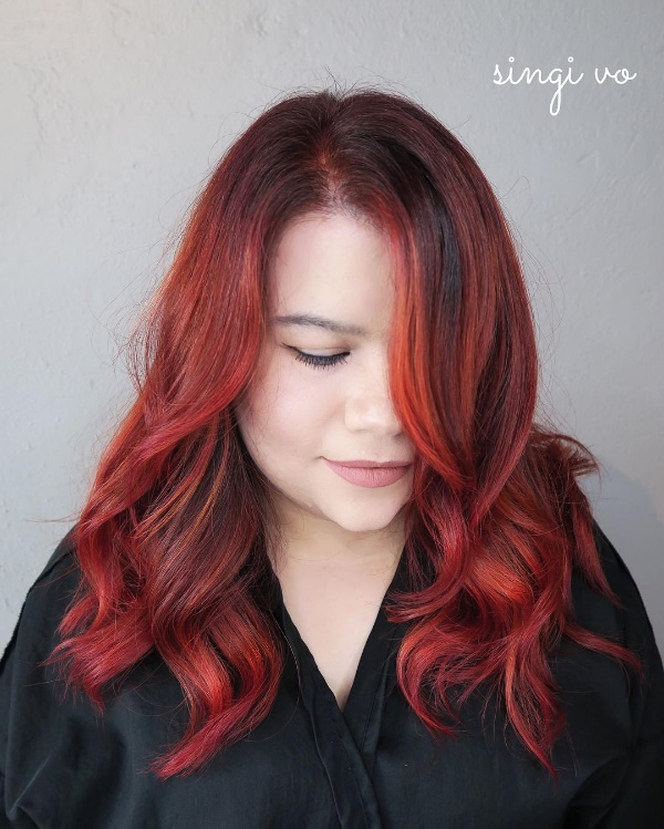 Brown Hair With Red And Black Highlights