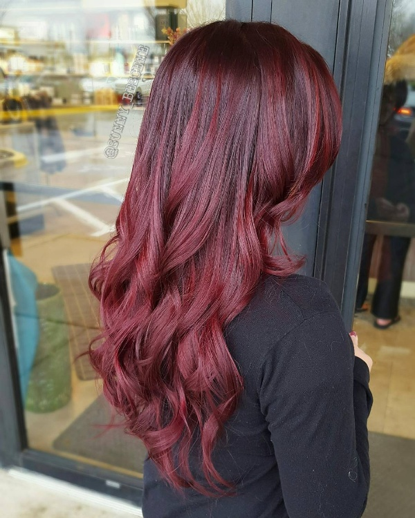 pics of black hair with red highlights