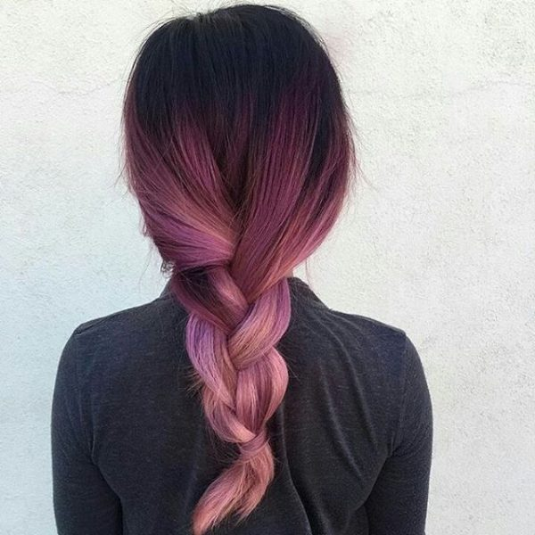 Purple Ombre On Dark Hair