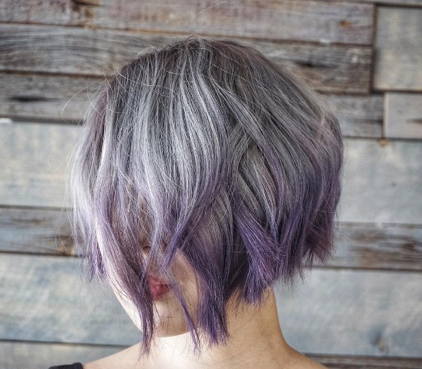 purple ombre on silver hair