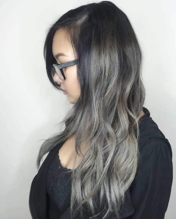 dirty gray highlights on long black hair