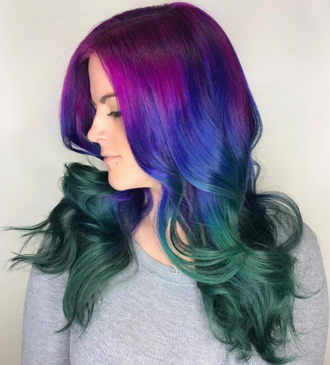 ash turquoise purple and blue ombre hair