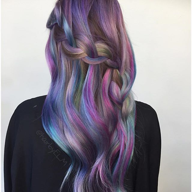 brown and purple blue ombre hair
