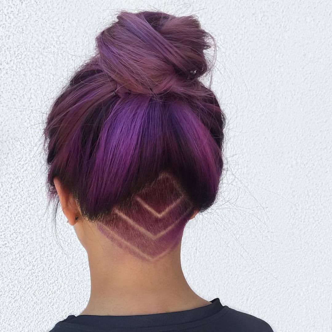 brown hair with purple tips and undercut