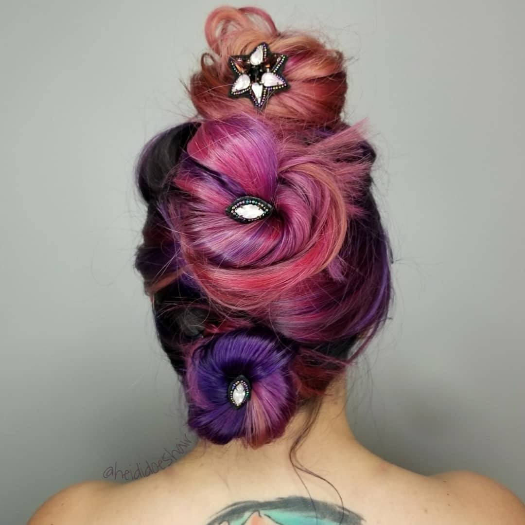 brown hair with purple tips hairstyle