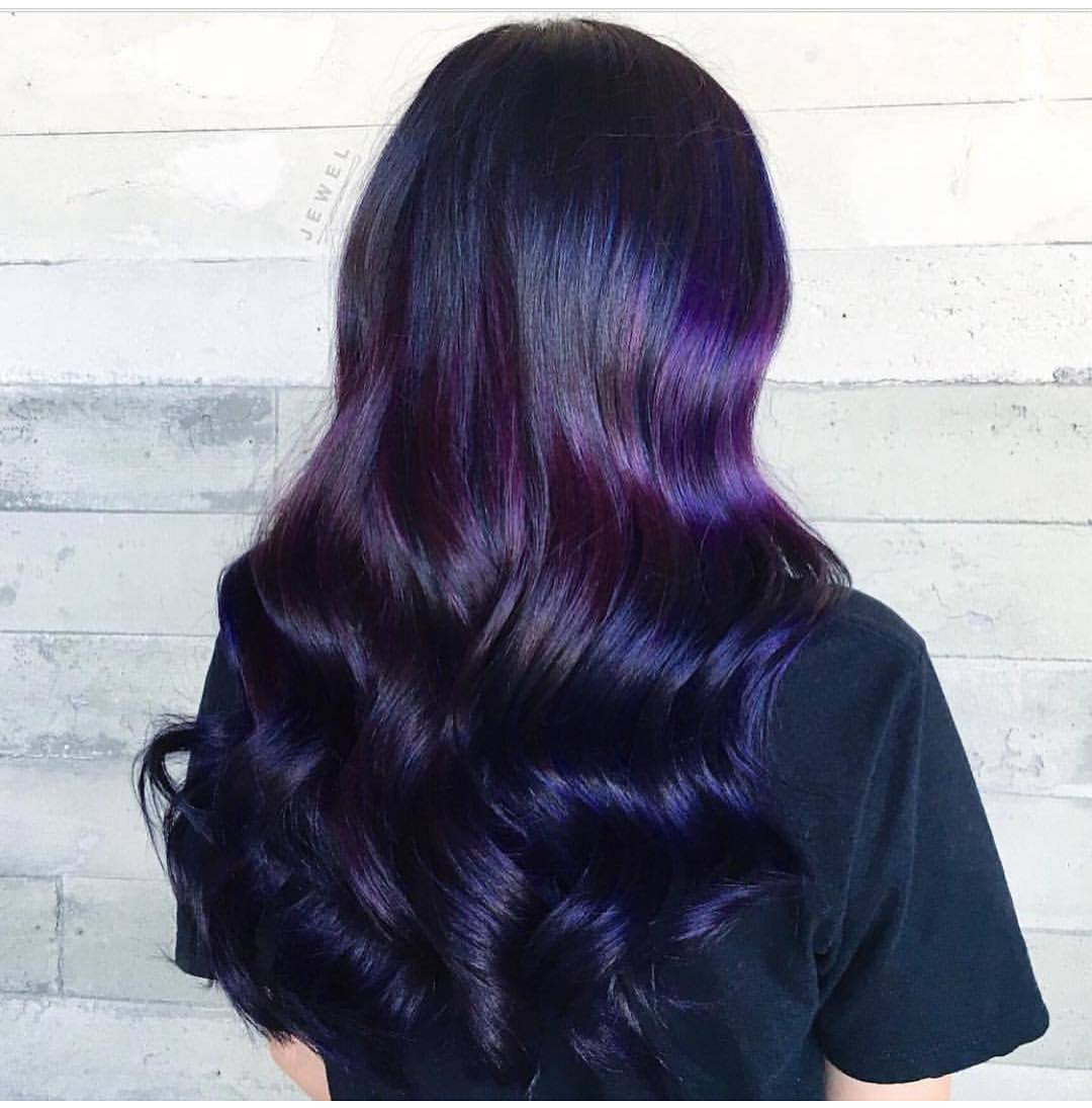 dark purple and black ombre hair