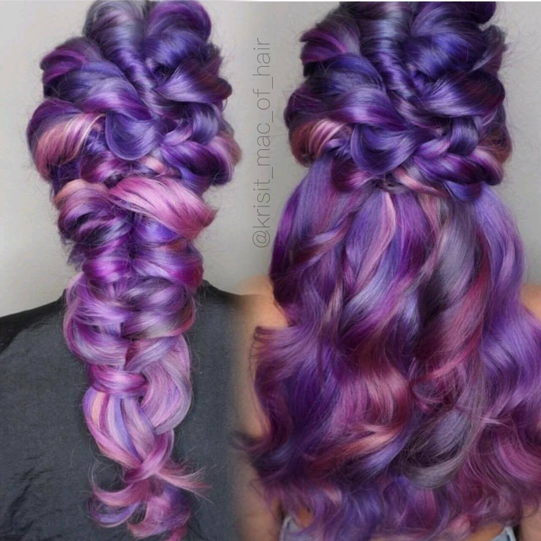 grey blue and mauve purple ombre hair