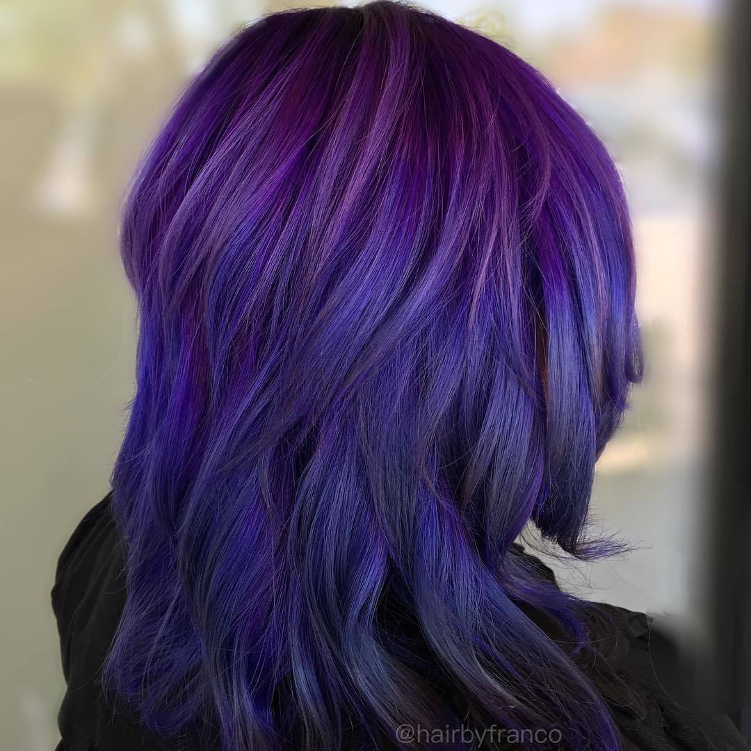 purple and blue ombre 2 lavel shag