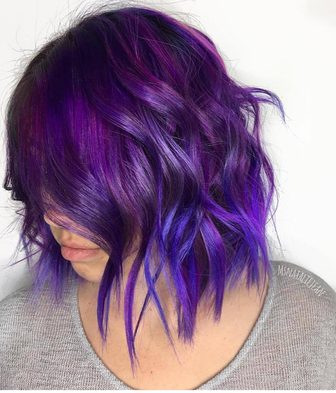 purple and blue ombre textured bob