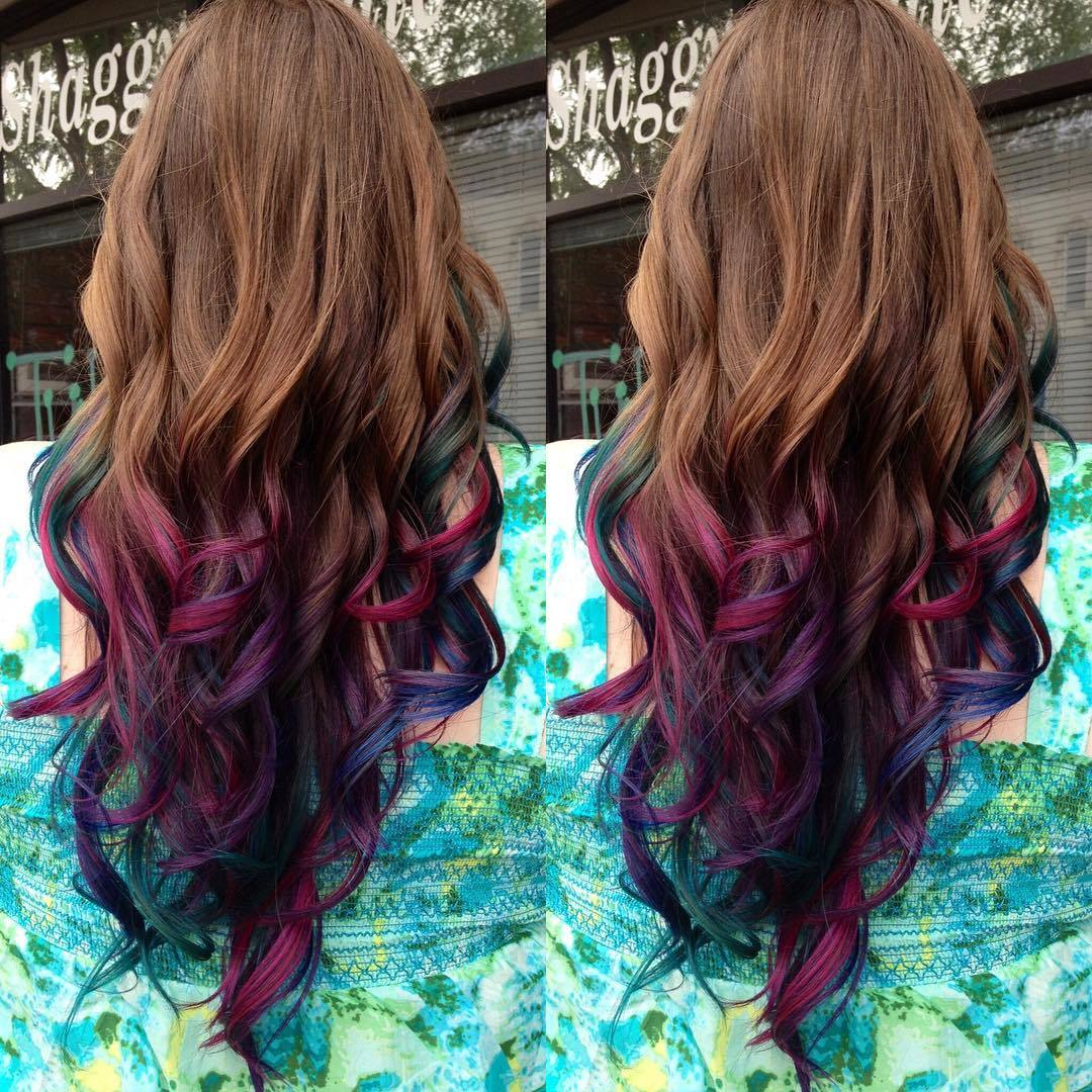 purple highlights in brown hair
