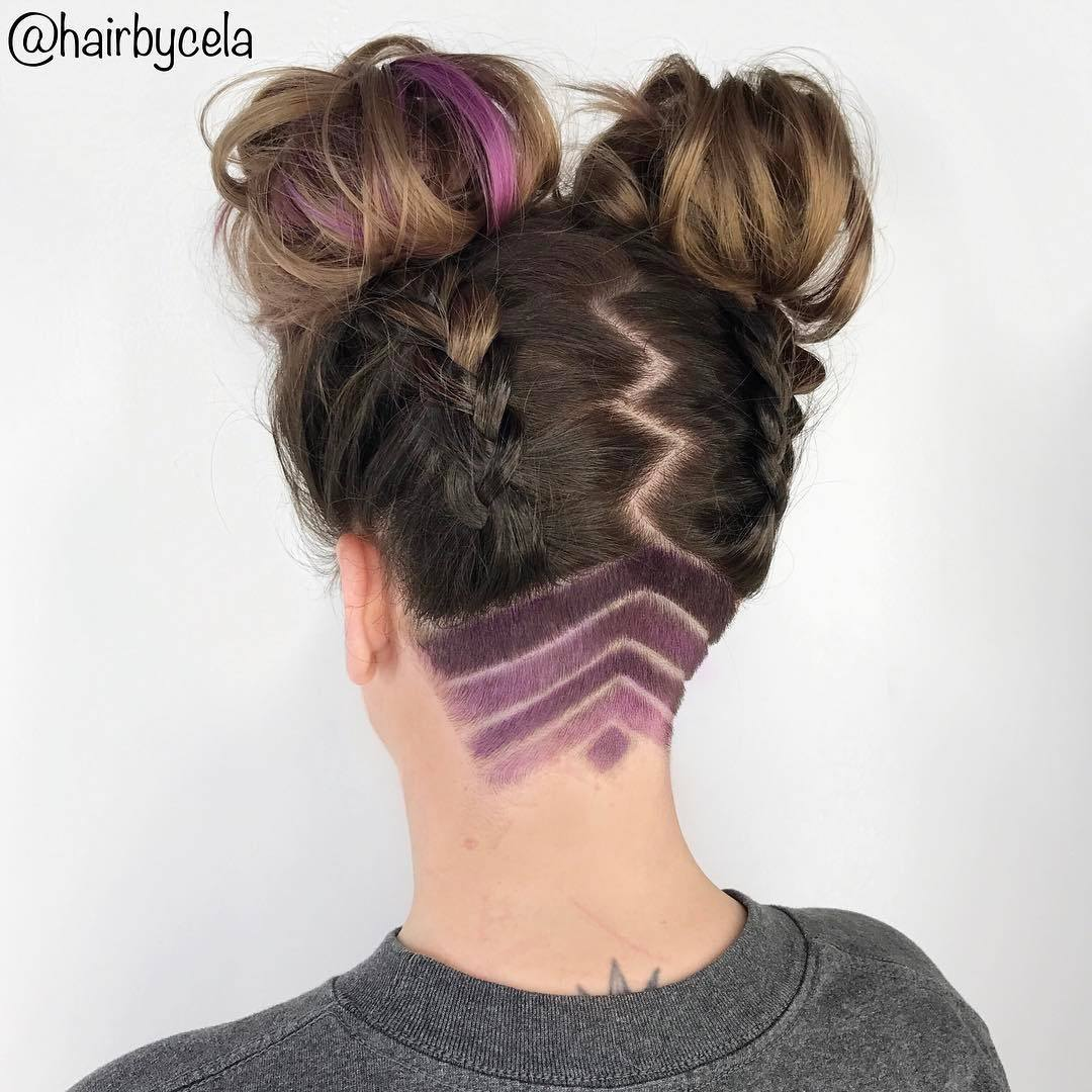 purple highlights on brown hair undercut