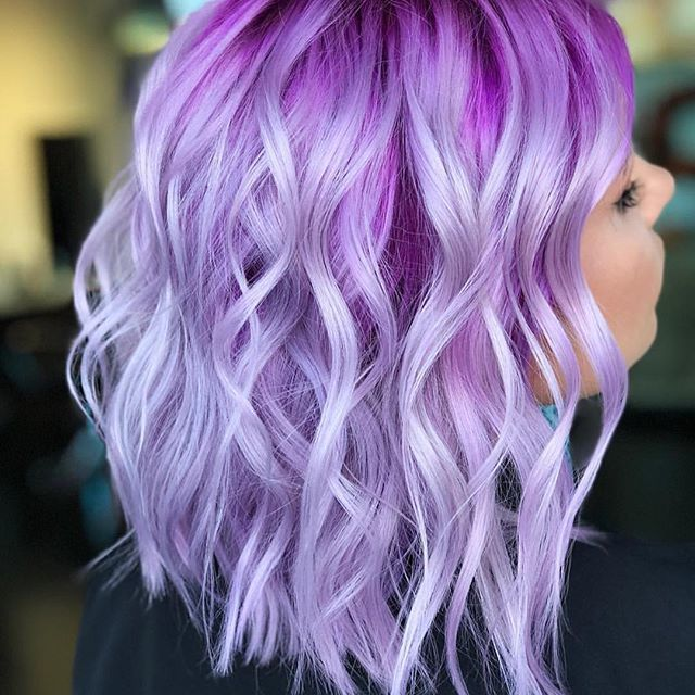 rusty pink to lavender ombre hair