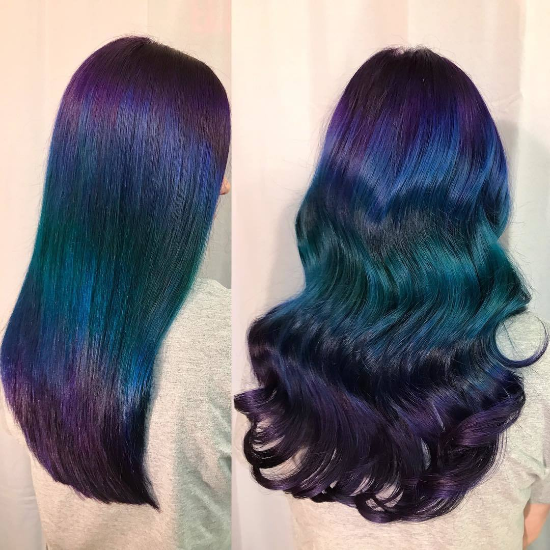 turquoise purple and blue ombre hair