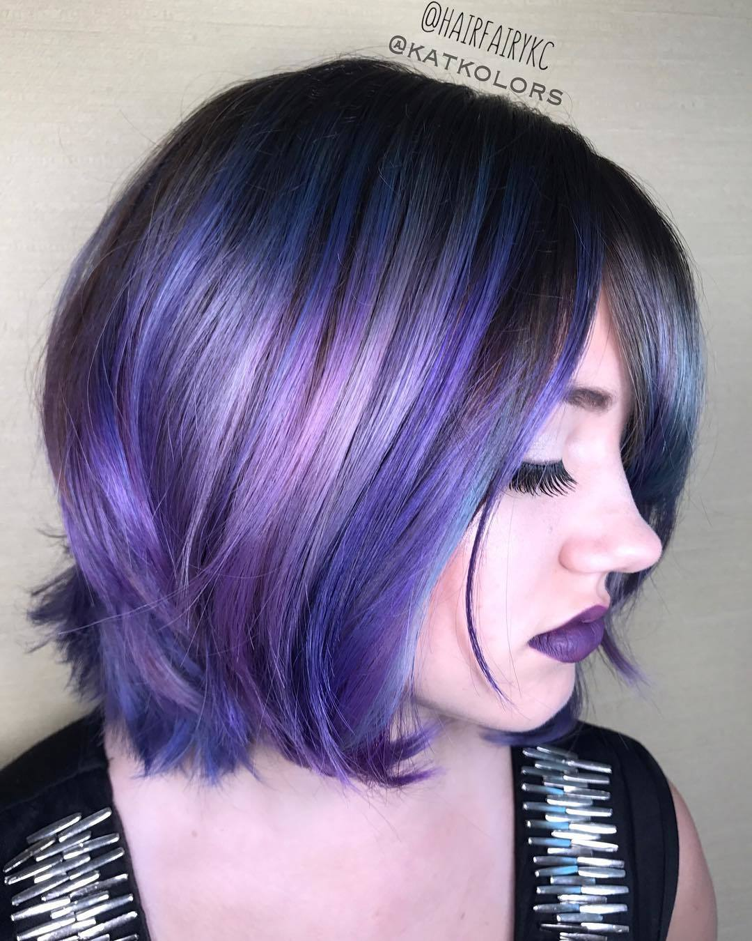 purple haze multi colored streaks on dark hair