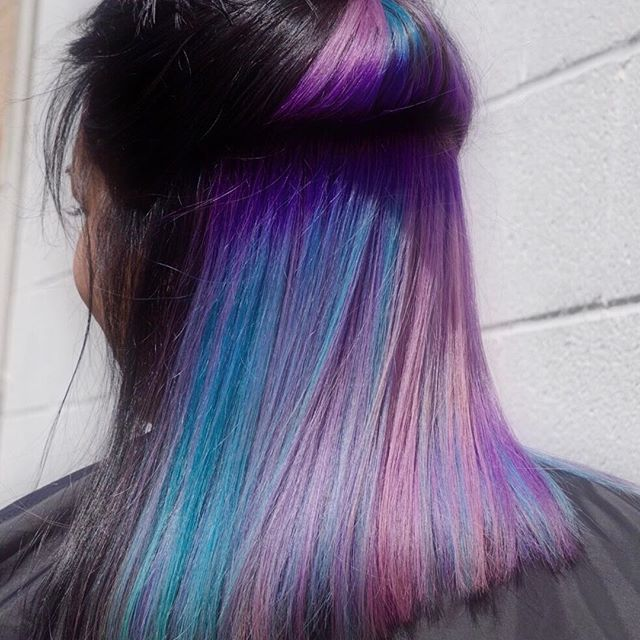 purple rainbow underneath dark hair