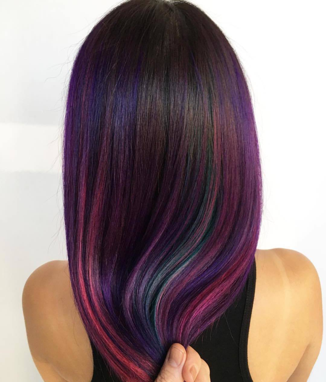 50 Great Ideas Of Purple Highlights In Brown Hair October 2018